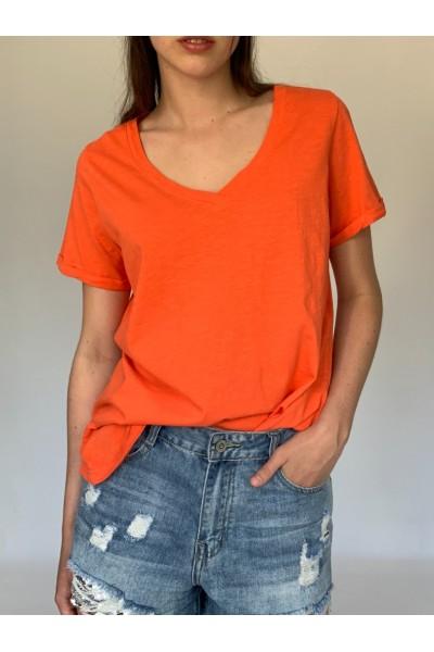 Orange Candy V Neck T