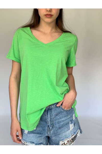Green Candy V Neck T