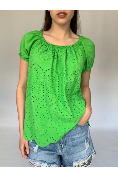 Green Bardot Top