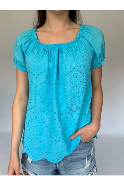 Turquoise Bardot Top