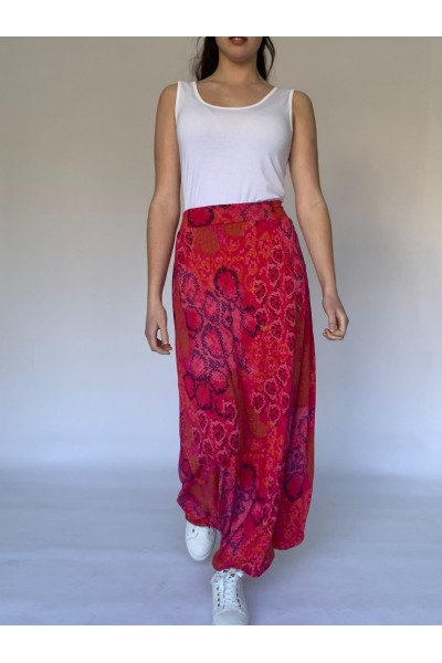 Red Reptile Maxi Skirt