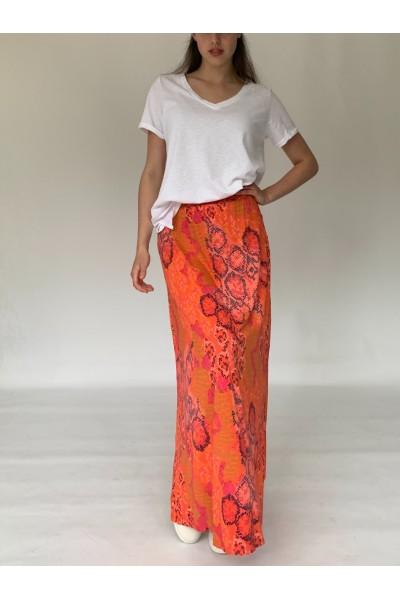 Orange Reptile Maxi Skirt