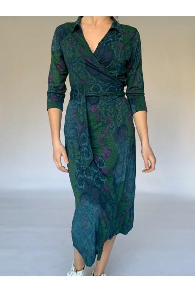 Green Reptile Midi Wrap Dress