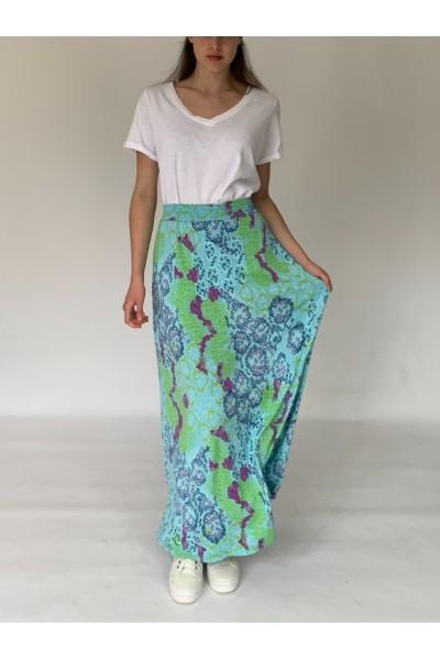 Turquoise Reptile Maxi Skirt