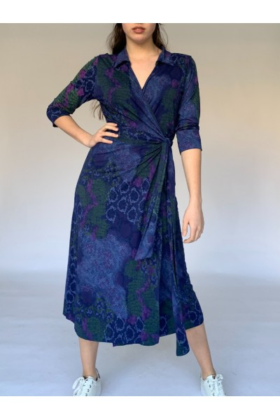 Navy Reptile Midi Wrap Dress