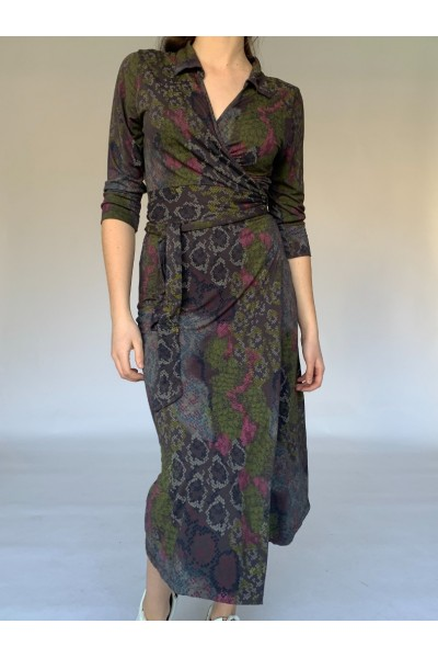 Brown Reptile Midi Wrap Dress