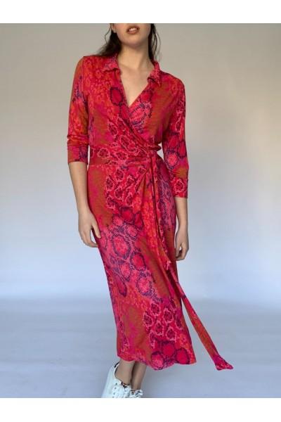 Red Reptile Midi Wrap Dress