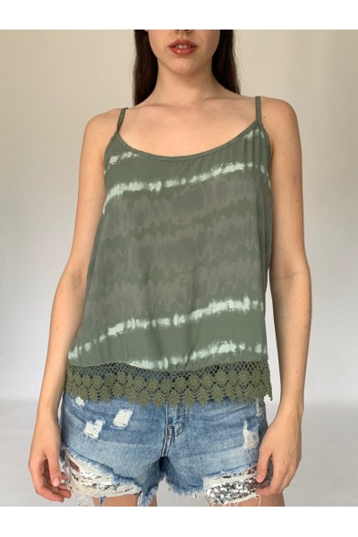 Military Tie Dye Lace Cami