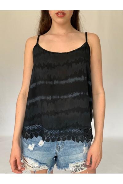 Black Tie Dye Lace Cami