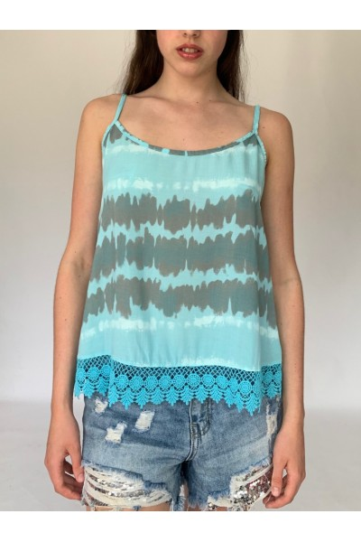 Turquoise Tie Dye Lace Cami