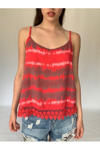 Red Tie Dye Lace Cami