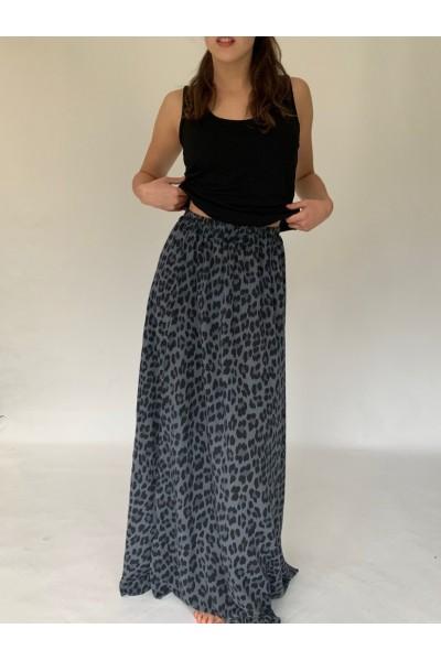 Dark Grey Abstract Extra Long Maxi Skirt