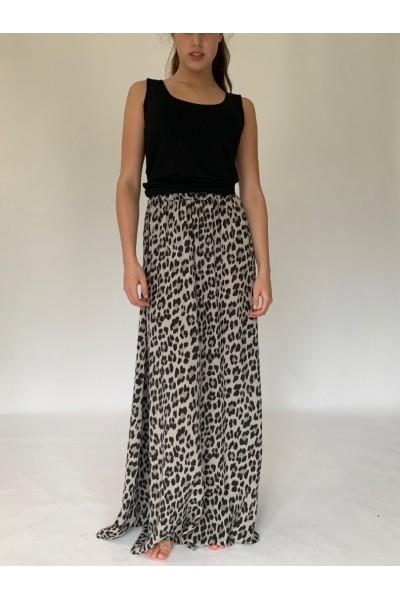 Light Beige Abstract Extra Long Maxi Skirt