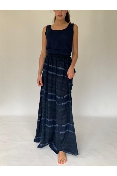 Navy Tie Dye Extra Long Maxi Skirt