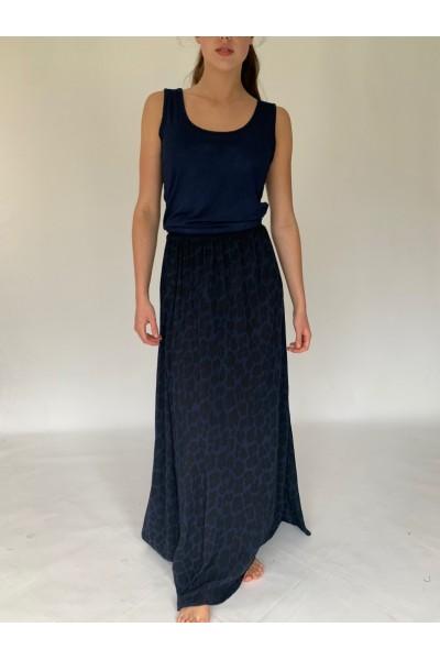 Navy Abstract Extra Long Maxi Skirt