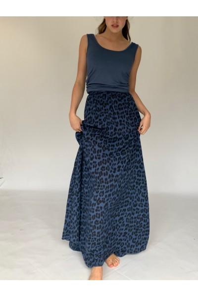 Denim Abstract Extra Long Maxi Skirt