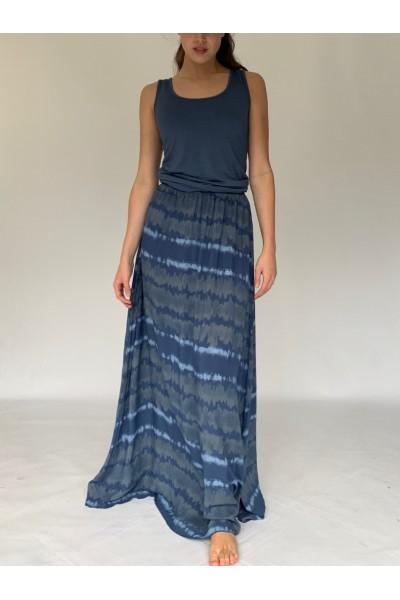 Denim Tie Dye Extra Long Maxi Skirt