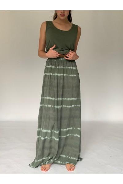 Military Tie Dye Extra Long Maxi Skirt