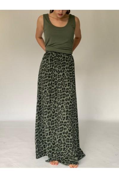 Military Abstract Extra Long Maxi Skirt