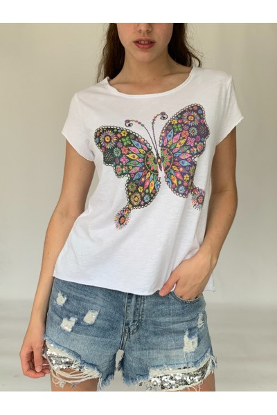 Multi Butterfly Sparkle T-Shirt