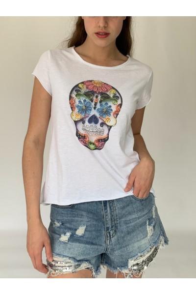 Flower Skull Sparkle T-Shirt