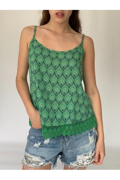 Green Kaleido Lace Cami